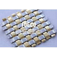 China Brass/Copper Flat Wire Square Mesh, Crimped Architectural Woven Mesh for Wall Coverings, Decorative Metal Mesh on sale