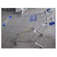China Silver Epoxy Coating Steel Bar Metal Supermarket Cart / Coin Lock Shopping Trolley wholesale
