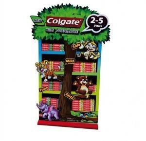 China Corrugated Cardboard Paper Display Shelf display Rack for Colgate toothpaste wholesale