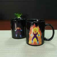China Unique Dragon Ball Color Changing Mug Vegeta Black Ceramic Magic Mug Eco Friendly Ceramic Mugs Heat Sensitive wholesale