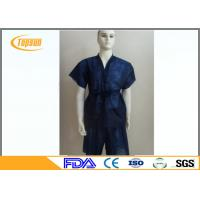 Blue Non Woven Disposable SPA Sauna Bathrobes , Kimono Sauna Suit Gown For SPA