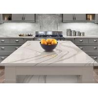 China OEM Long Kitchen Worktops With Grey Stripe Luxury Edging Quartz Kitchen Top wholesale