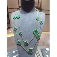 China Magic Alhambra Long Necklace Van Cleef And Arpels 16 Motifs Yellow Gold Malachite wholesale