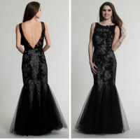 China Backless Scoop Sleeveless Black Appliques Tulle Formal Evening Dresses For Cocktail Party wholesale