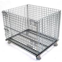 Easy Clean Wire Mesh Pallet Cages , Warehouse Cages On Wheels Rust Resistant