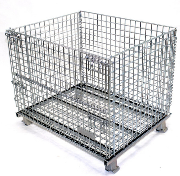 Quality Easy Clean Wire Mesh Pallet Cages , Warehouse Cages On Wheels Rust Resistant for sale