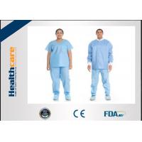 China Short Sleeve Disposable Scrub Suits SMS/SPP Nonwoven Nurse Uniform For Hospital Using on sale