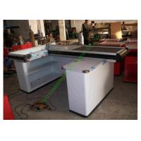 Buy cheap White Supermarket & Retail Store Cash Wrap Counter Table With Conveyor Belt from wholesalers
