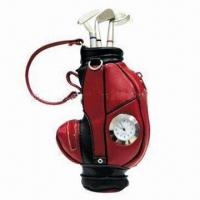 China Golf gifts pen holder with clock, made of PU wholesale