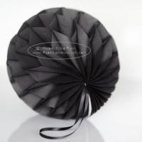 China Dark grey Tissue Paper Honeycomb Balls Pom Poms With Satin Ribbon Loop For Hanging wholesale
