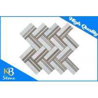 China Herringbone Wooden Gray Tumbled Mosaic Wall Decor Tile / Marble Decorative Wall Tiles wholesale