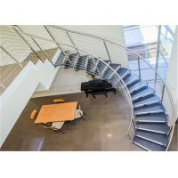 China Laminated Glass  Building Curved Stairs With Tempered Glass / Stainless Steel Baluster wholesale