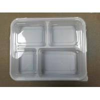 China 4-compartments Plastic Food Container with Lid plastic fast food box logo printing plastic food storage on sale