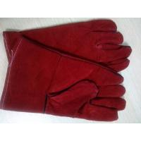 "China 12"" 14"" 16"" Red Cowhide Split Leather Welding Gloves gantlet protective welder full lining wholesale"