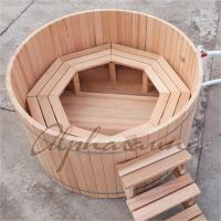 China Cedar Fence Wooden Barrel SPA Hot Tub , Wood Fired Bathtub No Electricity wholesale