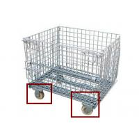 China Industrial Folding Wire Container Mesh Storage Cages On Wheels For Supermarket wholesale