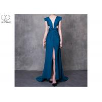 China Cyan V Neck A Line Cocktail Dress High Slit Back Hollow Sexy Style With Bowknot on sale
