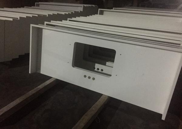 Quality Pure White Quartz Kitchen Countertops , 45 Degree Edge Faux Quartz Countertops for sale