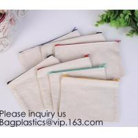 China Office Stationery custom logo printed plain Cotton Canvas pencil case bag with zipper,stationery bag paper holder file h wholesale