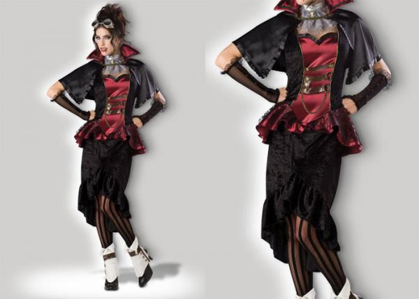 Quality Steampunk Vampiress 1089 Ladies Halloween Costumes , Superwoman Adult Halloween Costumes for sale
