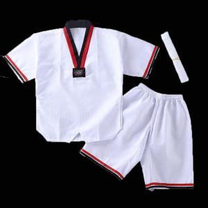 China Wholesale Custom Logo Kids Short Sleve Uniforms Taekwondo dobok Factory on sale