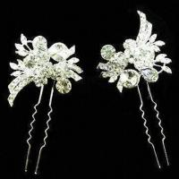 China Wedding Hairpin, Made of Zinc Alloy, with Swarovski Crystals Decoration wholesale