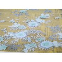 China Embroidery 3D Floral Wedding Dress Lace Fabric By The Yard With Beads Light Blue wholesale