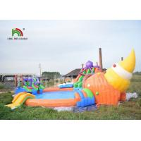 China Commercial 3 In 1 Inflatable Water Parks With Swimming Pool Slide For Party on sale