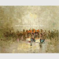 China Framed Palette Knife Oil Painting , Abstract sailboat scenery wall art painting wholesale