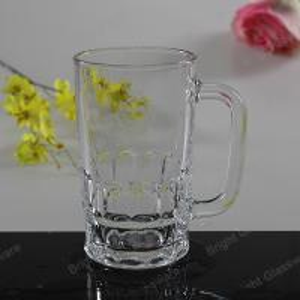 China machine press glass beer mug, glass tumbler with handle on sale
