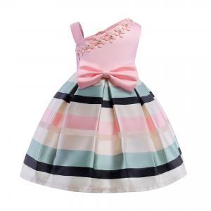 China Bow Belt Dress Robe Fille Elbise Frozen Prinsess Enjurken Meisjes Vestido Menina Irregular One Shoulder Strap Dress wholesale
