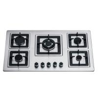 Sliver Stainless Steel 5 Burner Gas Hob Built In 110/220V Ignition Square Pan Support