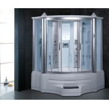 China Combined shower + steam sauna + infrared sauna tempered glass corner steam shower room wholesale