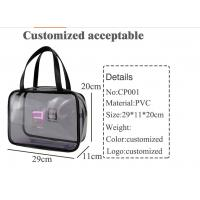 China Clear PVC Handbags With Zipper , Customized Piping Woman Makeup Tote Bag wholesale
