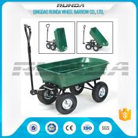 China Green Color Garden Dump Wagon Plastic Material Tray Load Capacity 150kg wholesale