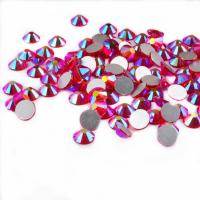 China 14 Facets Flat Back Rhinestone Beads Non Hot Fix Glass Material Round Shape wholesale