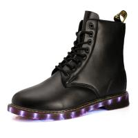 China USB shoes charging shoes LED lights shoes men boots all sizes pu uppper RB sole black or brown wholesale