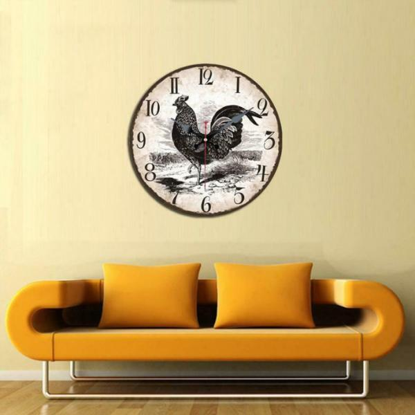 Quality Vintage Round Black Rooster Wooden Wall Clock Outdoors Home Office Wholesale Home Decor Wood Clock for American Crafts for sale