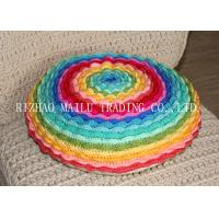China Round Colorful Rainbow Multi - Layer Blooming Rose Chair Cushion Covers For Leaning On wholesale