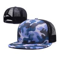 China 100% Polyester Camo Flat Brim Trucker Hat , Unisex Fitted 5 Panel Hat With Plastic Buckle on sale