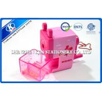 China Pink Cartoon Kids Plastic Hand Pencil Sharpener , Manual Pencil Sharpener on sale
