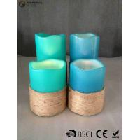 China Multi Colored Led Pillar Candles With Hemp Rope Home Decoration wholesale
