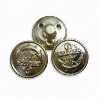 China 15mm Sewed on Shank Buttons, Made of Brass, Customized Designs and Logos are Accepted wholesale