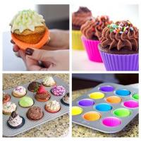 China Home Made DIY Silicone Cupcake Molds Round Reusable For Muffin Baking wholesale