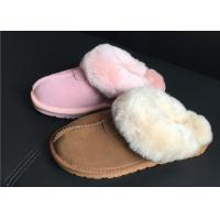 Buy cheap 100% Sheepskin Slippers Ladies Shoes Chestnut EVA Soft Sole Suede Leather Slipper from wholesalers