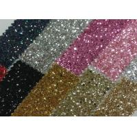 China Grade 3 Chunky 3D Champagne Glitter Fabric 1.2mm Thickness PU Fabric With 3D Chunky Glitter wholesale