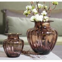 China Mouth Blown Decorative Glass Flower Vases / Hand Wash Three Size Pink Glass Vase wholesale