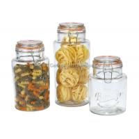 China Promotional  Glass Storage Canisters with chromed clamp and airtight  lids food grade wholesale