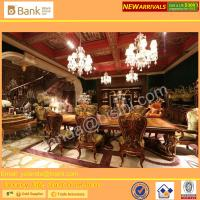 China (BK0109-0011)Royal Luxurious Italy Palace Long Dining Table Mother of pearl inlays with gold leafs Italian fabric chair wholesale