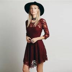 China fashion round neck design long sleeve sexy lace women evening dress on sale